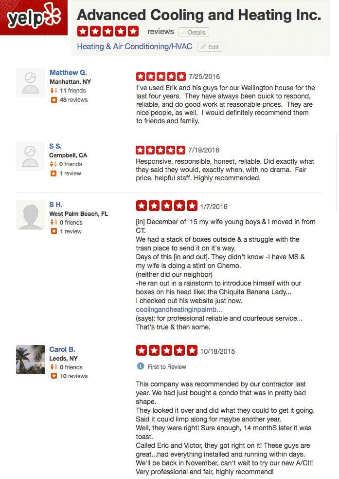 Yelp Reviews Advanced Cooling and Heating Inc.